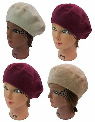 Lady Women Beanie Wool French Beret Hat Cap- Cream, Burgundy