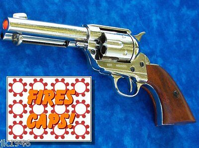 "Replica M1873 ""FAST DRAW"" PISTOL Peacemaker Prop Gun NICKEL Finish John Wayne"