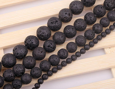 Ball Black Lava Rock Gemstone Beads Strand For Jewelry Making 6/12/14/16mm