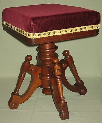 Antique Piano Organ Stool Solid Walnut Swivel Seat Mohair Upholstery Archer 1873