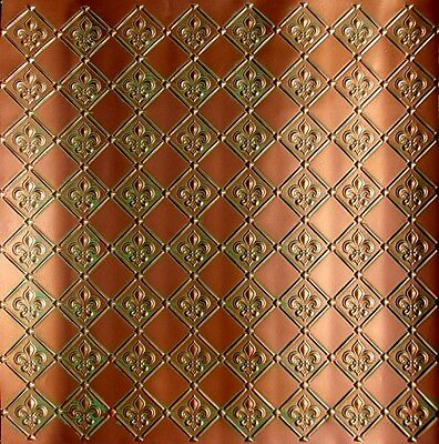 "Kitchen Backsplash ""Fleur de Lis"" Faux Tin, Glue-up, DIY WC-80"