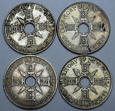 New Guinea - Shillings x 4 - Average circulated condition - Sterling Silver.