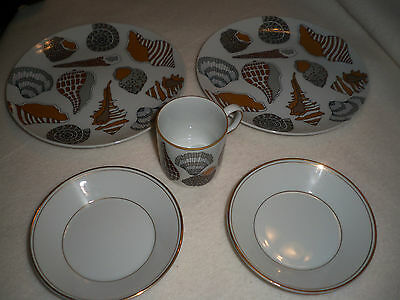 FITZ AND FLOYD CHINA 2 DESSERT PLATES, 2 SAUCERS, AND I DEMITASSE SEASHELL