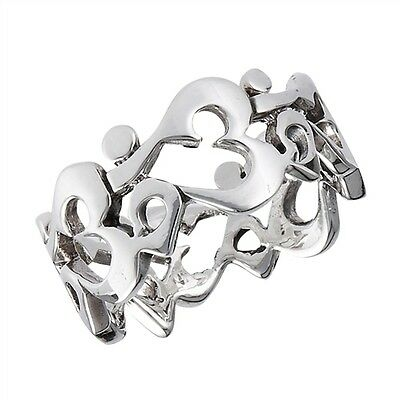 Beautiful Sterling Silver .925 Om Ohm Aum Open Carved Ring Sizes 5-12