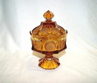 """Vintage Fostoria Amber Glass Coin Cover Candy Dish w/ Lid Compote - 8 3/8"""" Tall"""