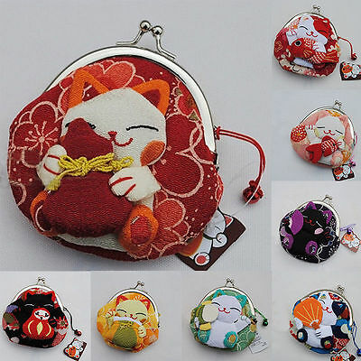 Japanese Silk Crepe Kimono Brocade Chirimen Fabric Wallet Coin Purse Lucky Cat