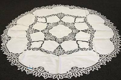 "90"" Round 100% Cotton White Battenburg Lace Embroidered tablecloth 12 napkins"