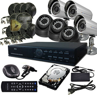 DNT 8Ch Channel standalone HDMI CCTV DVR 6 Home Video CCD Camera Security System