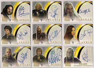 LOTR FOTR TTT TWO TOWERS Complete 14  AUTO Set