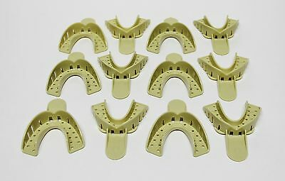 Dental Plastic Disposable Impression Trays Perforated Autoclavable LS #6 12 Pcs
