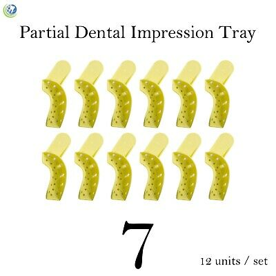 Dental Disposable Impression Trays Perforated Autoclavable Partial #7 12/Set
