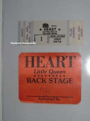 HEART Unused 1978 Concert TICKET & Backstage PASS Fresno LITTLE QUEEN Very Rare