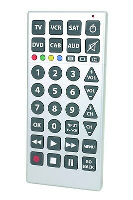 Big Button Universal Remote Control For TV DVD VCR Extra Large