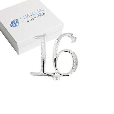 Rhinestone 16 Cake Topper Sweet Sixteen Birthday Party Diamond Silver Crystal 4""