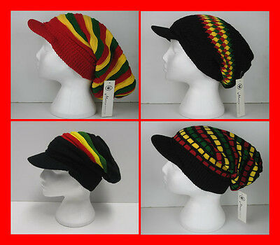 Rasta Oversized Slouch Pull on Knitted Peak Beanie Cap Hat - One Size -