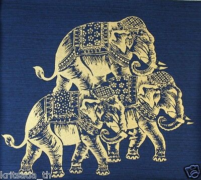 Golden Elephant Print on Silk Blue Decorate Fabric Art Craft Oil Painting 11x11""