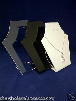 Jewellery Necklace Earring Stand In Clear White Or Black Acrylic Plastic Perspex