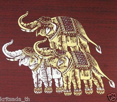 Thai Elephant Art Print on Silk Collectibles Home Decorate Oil Painting Tapestry