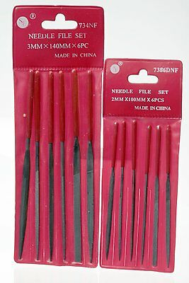New Combo of  6pc 2 x 100mm + 6pc 3 x 140mm Mini Diamond Needle Files Set