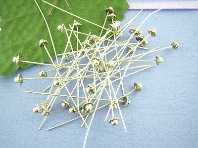 Wholesale Mixed Lots Silver Tone Hat Head Pins 60x0.8mm