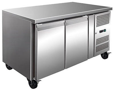 2 Door 280L Stainless Steel Under Counter Workbench Storage Fridge