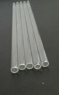"8"" Pyrex Glass Tubing 10 mm OD 8mm ID 10 Piece Blowing Tubes 1mm Thick Wall"