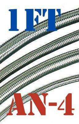"-4 AN 4 AN4 1/4"" Braided Stainless Steel Fuel Oil Gas Line Hose Price for 1 foot"