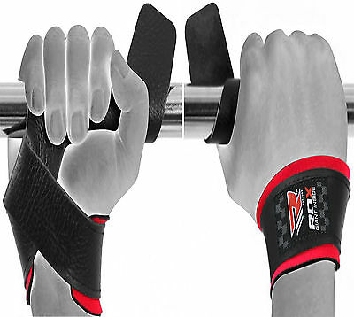 RDX Padded Leather Straps Weight Lifting Training Gym Bar Wrist Support Gloves