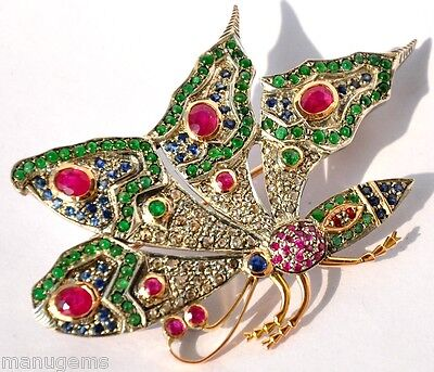 Extraordinary 14Kt Emerald Ruby Diamond Butterfly Brooch
