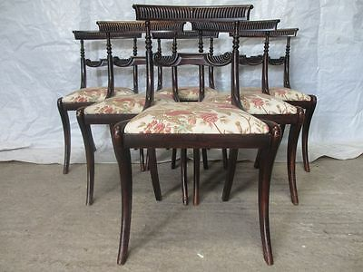 Set of 6 Regency Mahogany carved bar back dining chairs (ref 087)