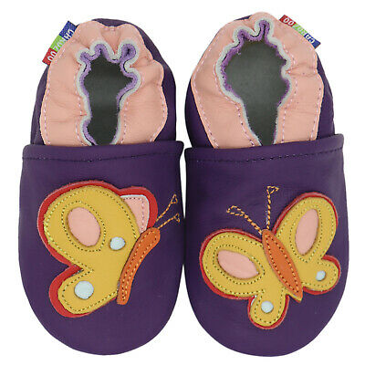 carozoo colorful butterfly purple 2-3y new soft sole leather toddler shoes