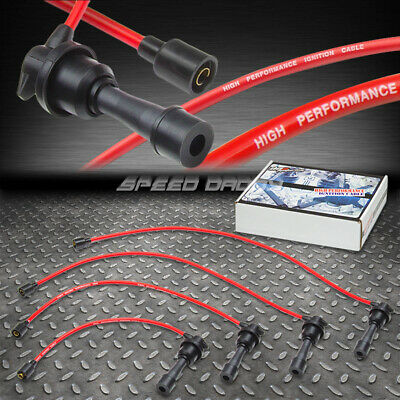 8Mm Spiral Core Spark Plug Ignition Wire Cable 90-98 Eagle Talon Dsm 1G/2G Red