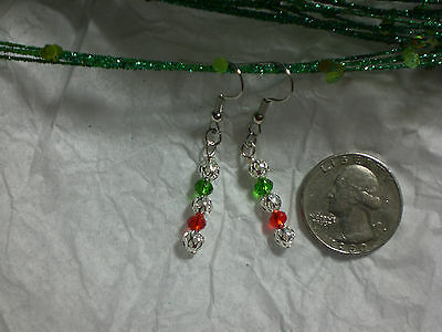 Silver Filigree Red Green Authentic Crystal Earrings Dangle