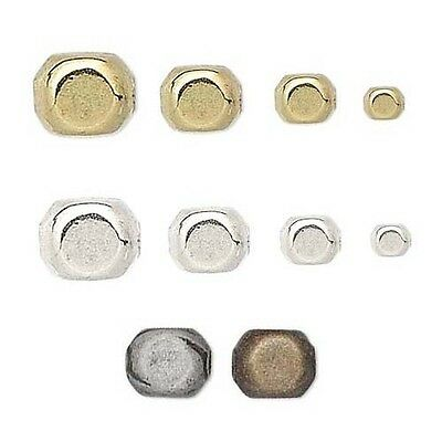 Lot of 100 Round Corner Square Spacer Beads Plated Over Brass Metal Small - Big