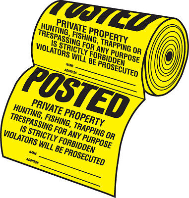 New Roll of 50 Tyvek Posted No Hunting or No Trespassing Sign TSR-50