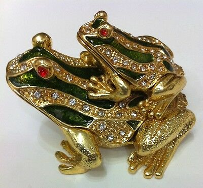 Bejeweled Frog Carry Baby Frog Statue Figurine Trinket Jewelry Box