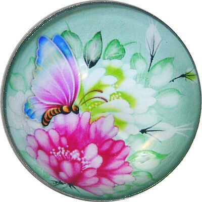 "Beautiful Crystal Dome Button Colorful Aqua/Pink Butterfly Lg Size 1 & 3/8"" B 41"