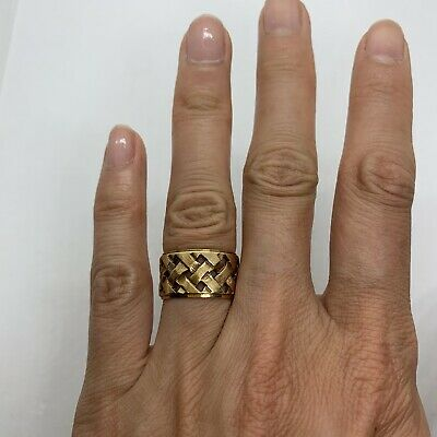 Vintage 14k yellow rose gold woven basket weave 11mm wide band ring pierced 6