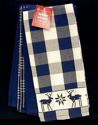 Bardwil Holiday 4-pc Kitchen Towel Set Navy New