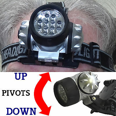 12 LED Headlamp with Adjustable Strap & Light Ultra Super Bright Water Resistant