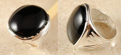 R1 Awesome Black ONYX SILVER Plated Ring Sizes M - T Size 6 - 10 RRP £24