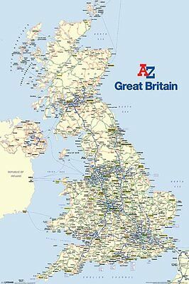 A-Z (Great Britain) Major Road Map Of The Uk Wall Poster