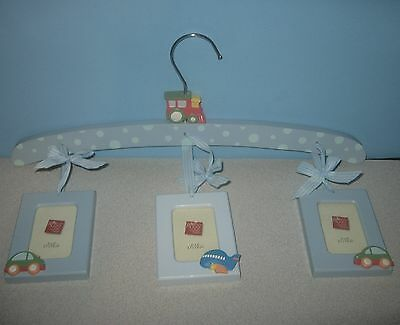 Russ Berrie & Co Baby Nursery Blue Picture Wood Hanger w/Train Plain Automobiles