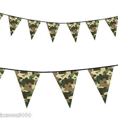 6m Green Army Military Camouflage Bunting Boys Birthday Party Banner Decoration