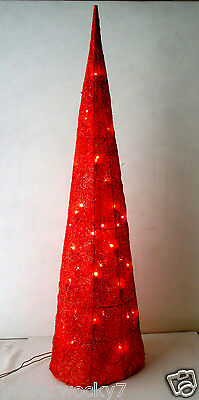 Red Glitter Cone Christmas Tree - Lights Up! 3' Feet Tall Seasonal Holiday Decor