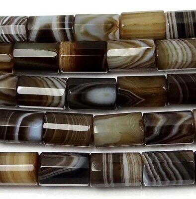 """12x8mm Natural Sandonyx Agate Faceted Cylinder Tube Beads 16"""""""