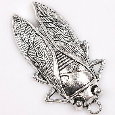 4pcs 145999 Silver Tone Vintage Carved Big Cicada Insect Charms Alloy Pendants