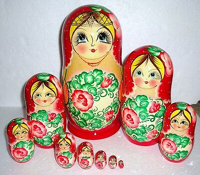 "Beautiful Russian Nesting Doll~10pc~10.5""~GORGEOUS~HUGE~MADE IN RUSSIA"
