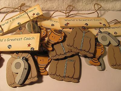 World's Greatest Coach wooden Ornament wall Hanger Big Lot of 6