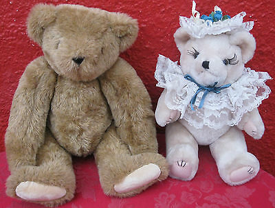 """2 Pc Lot Vintage Vermont Teddy Bear & Other Jointed Plush Toy USA 16"""" & 13"""" ✞"""